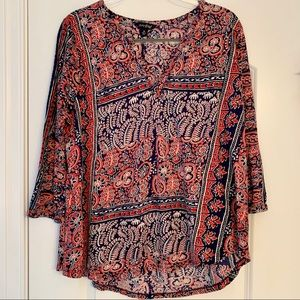 🦋 Lucky Brand Patterned Cotton Blouse, Size 1X